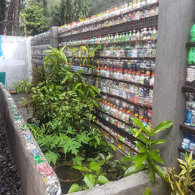 An eco-brick demo wall in The Circle Hostel, Zambales. Photo by  The Plastic Solution