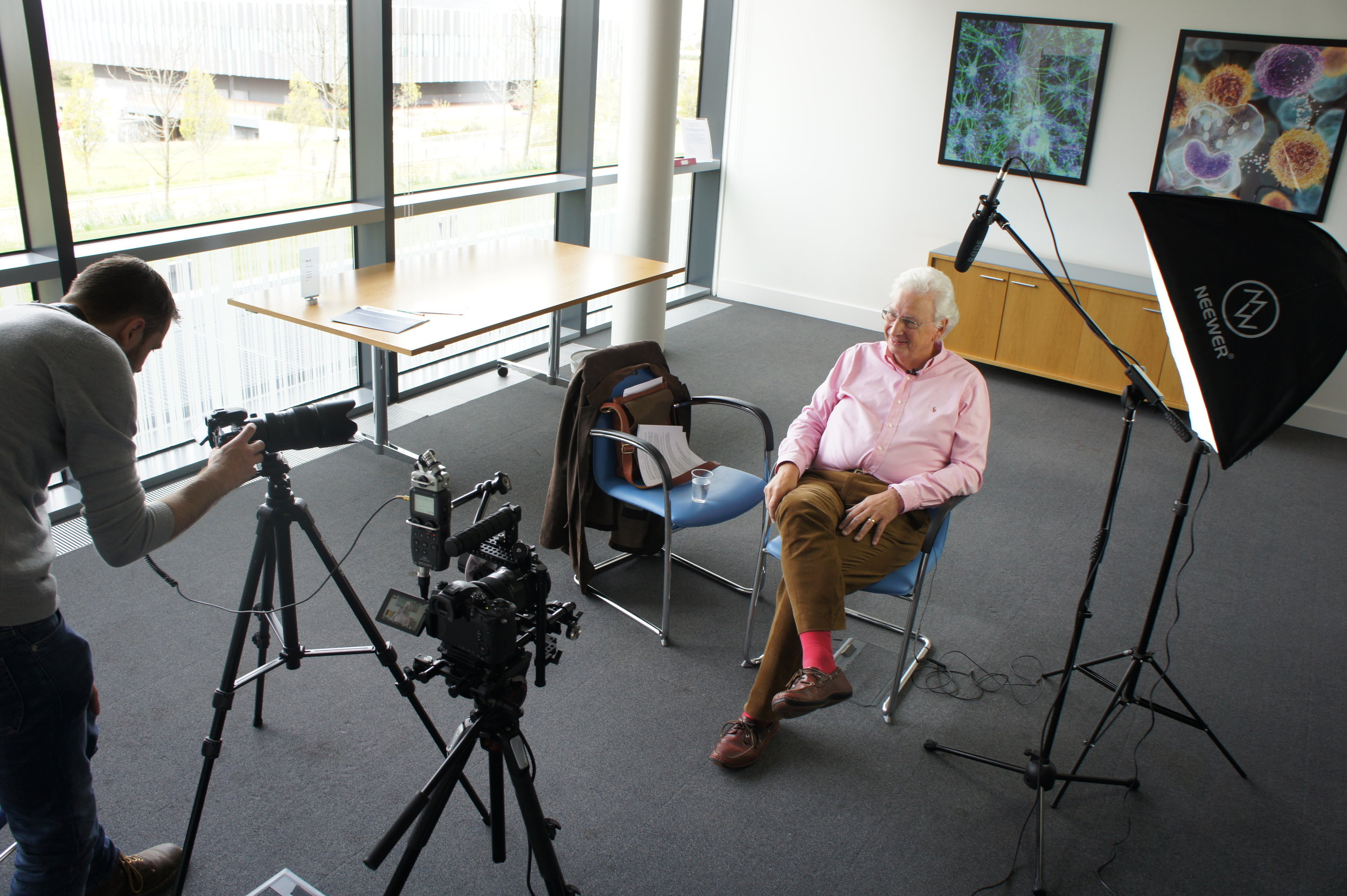 Perry Jonsson setting up to interview K.H.