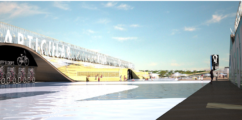Playa Rosa is a metaphorical urban beach, where a new high performance, high density public open space emerges.