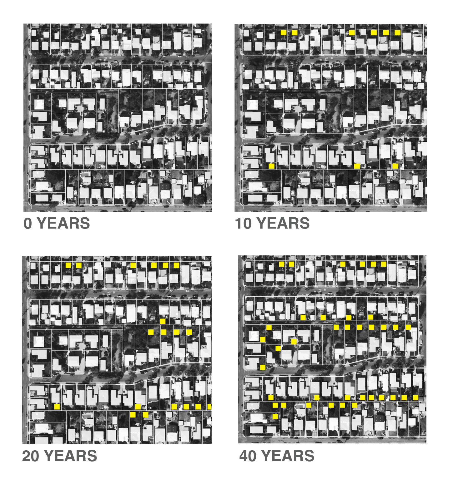Accumulation of Backyard Homes over time.