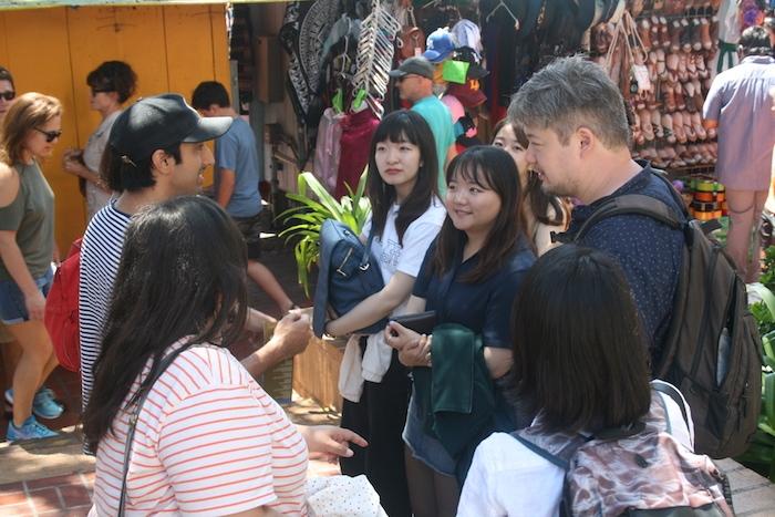 Waseda and UCLA students conduct fieldwork on Olvera Street.