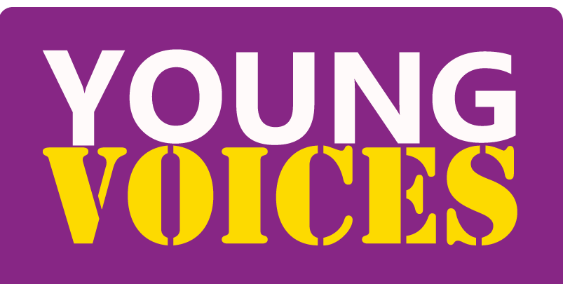 Young Voices logo in pink, yellow, and white.
