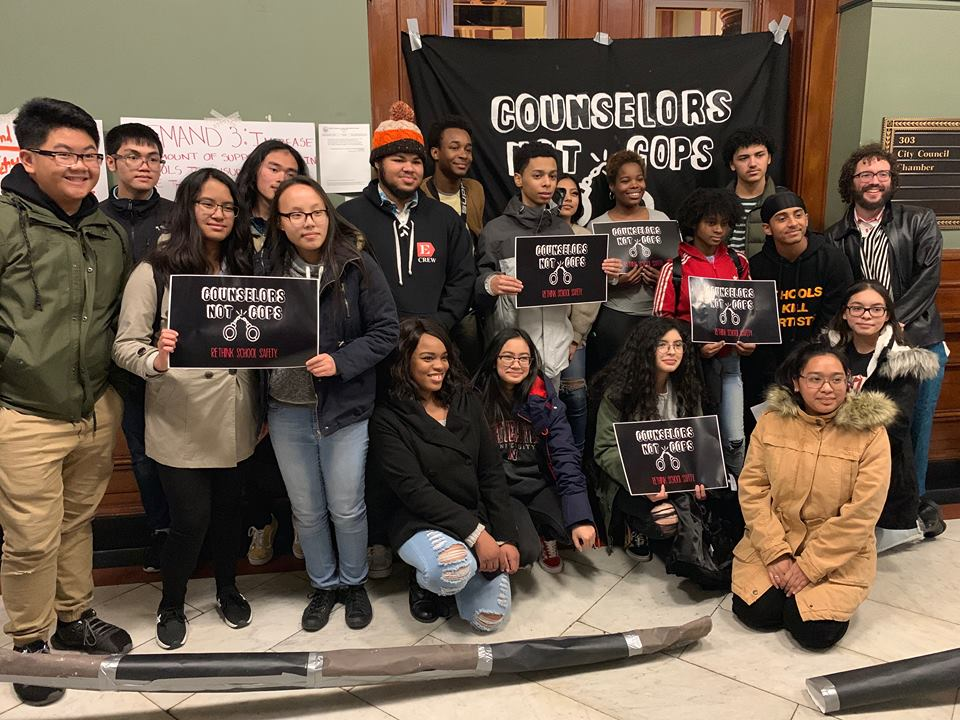 Providence high schoolers gather for their Counselors Not Cops campaign.