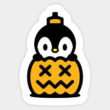 cartoon penguin inside a pumpkin