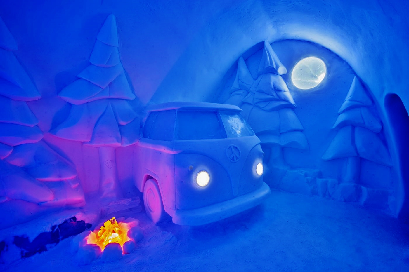This year the Ice Hotel has a room that contains a VW camper van made from ice. Only about $1,250 USD's a night. Credit: icehotel.com/Asaf Kliger