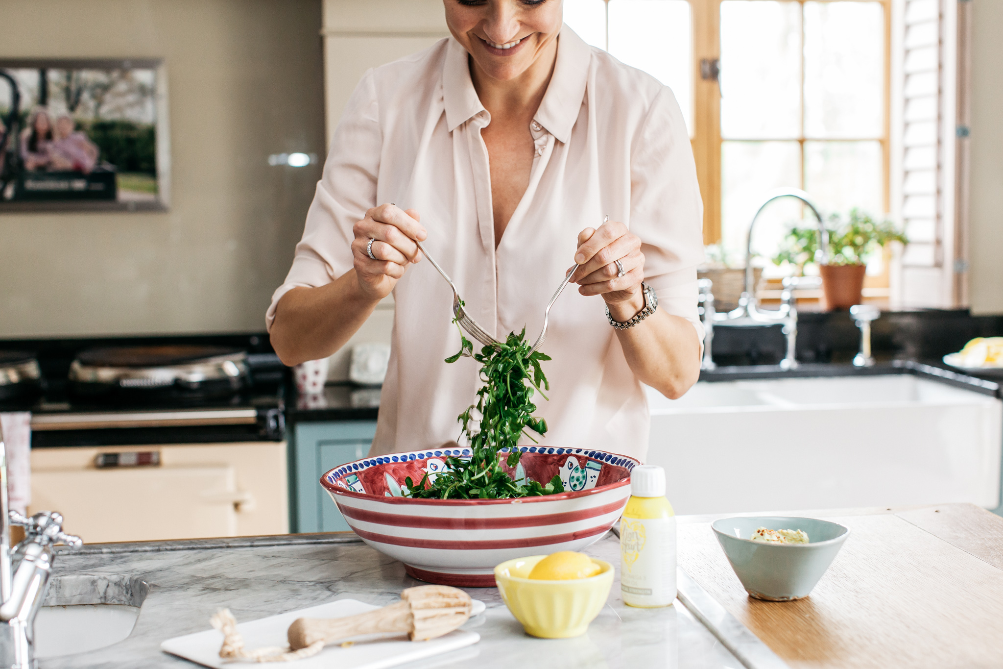 Salad being prepared for lunch.Food lifestyle photography for Bare Biology by Emma Gutteridge