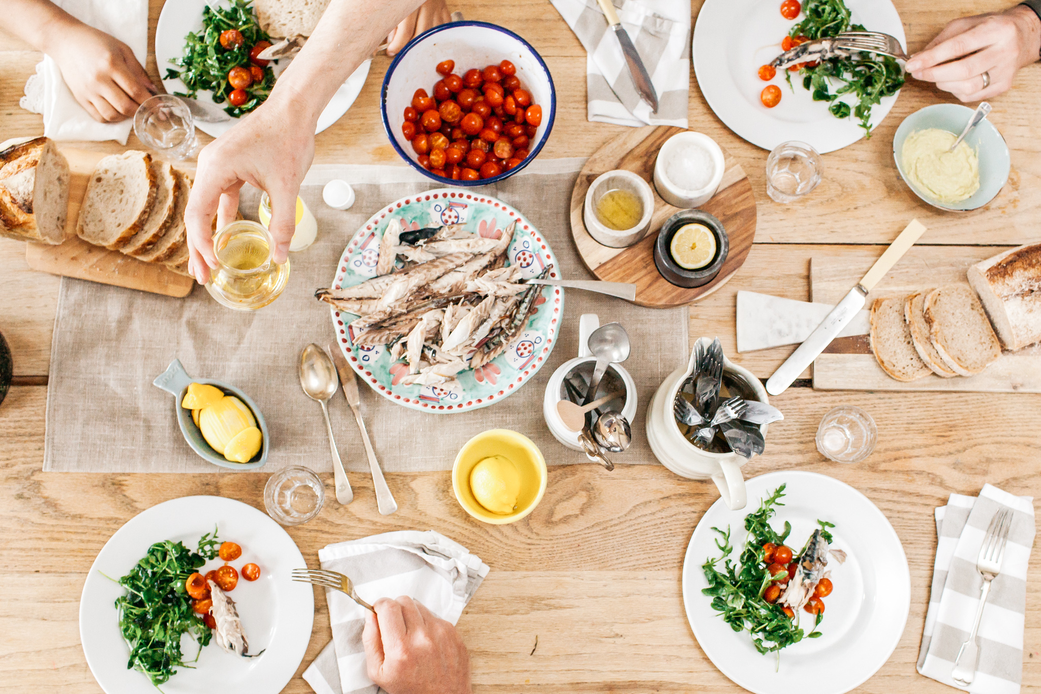 A fish based lunch set out.Food lifestyle photography for Bare Biology by Emma Gutteridge