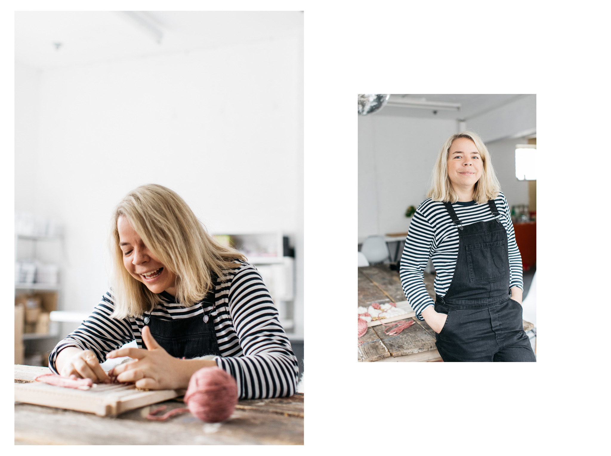 Portraits of Brighton creative Lucy Davidson - owner of Peas and Needles. Lucy is a weaver and teaches weaving workshops Photography by portrait photographer