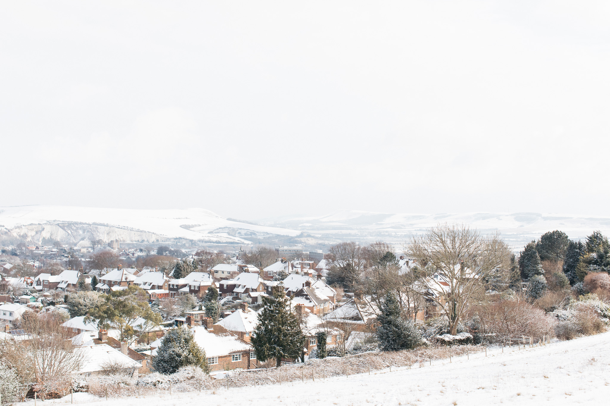 Photographs of the UK snow in Feb March 2018 - taken in the market town of Lewes, East Sussex with some looking over the rooftops of the town.