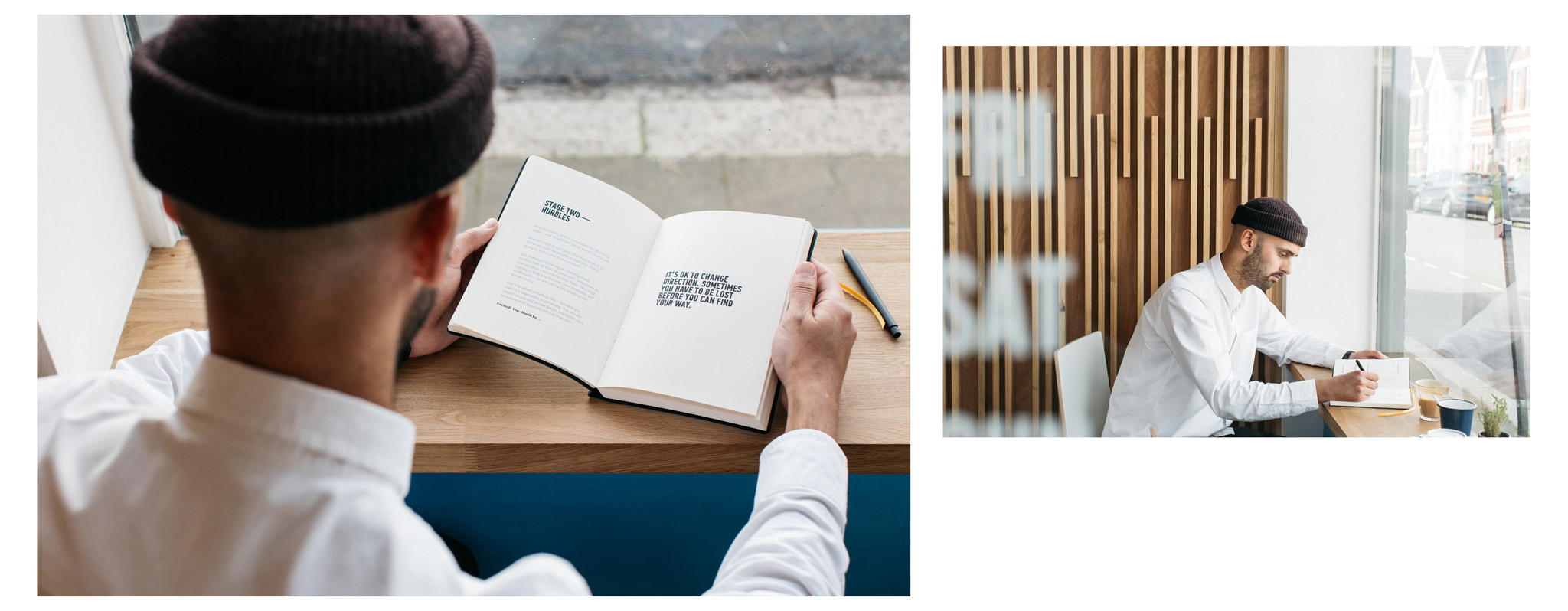 lifestyle and product photography for mens journal system Mind Journal