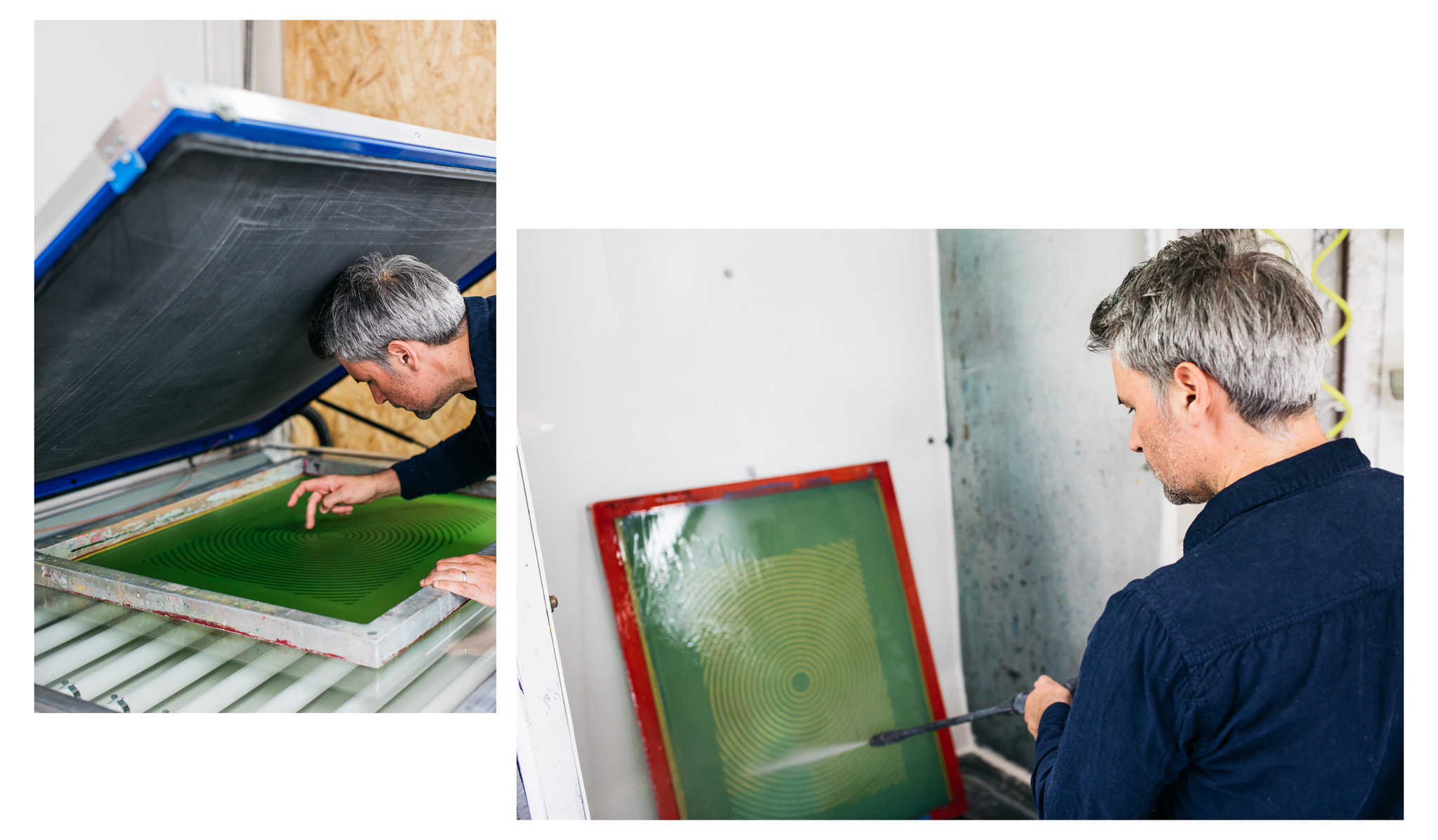 Studio portraits of Gary at The Private Press documenting some of his screen printing processes in his Brighton studio
