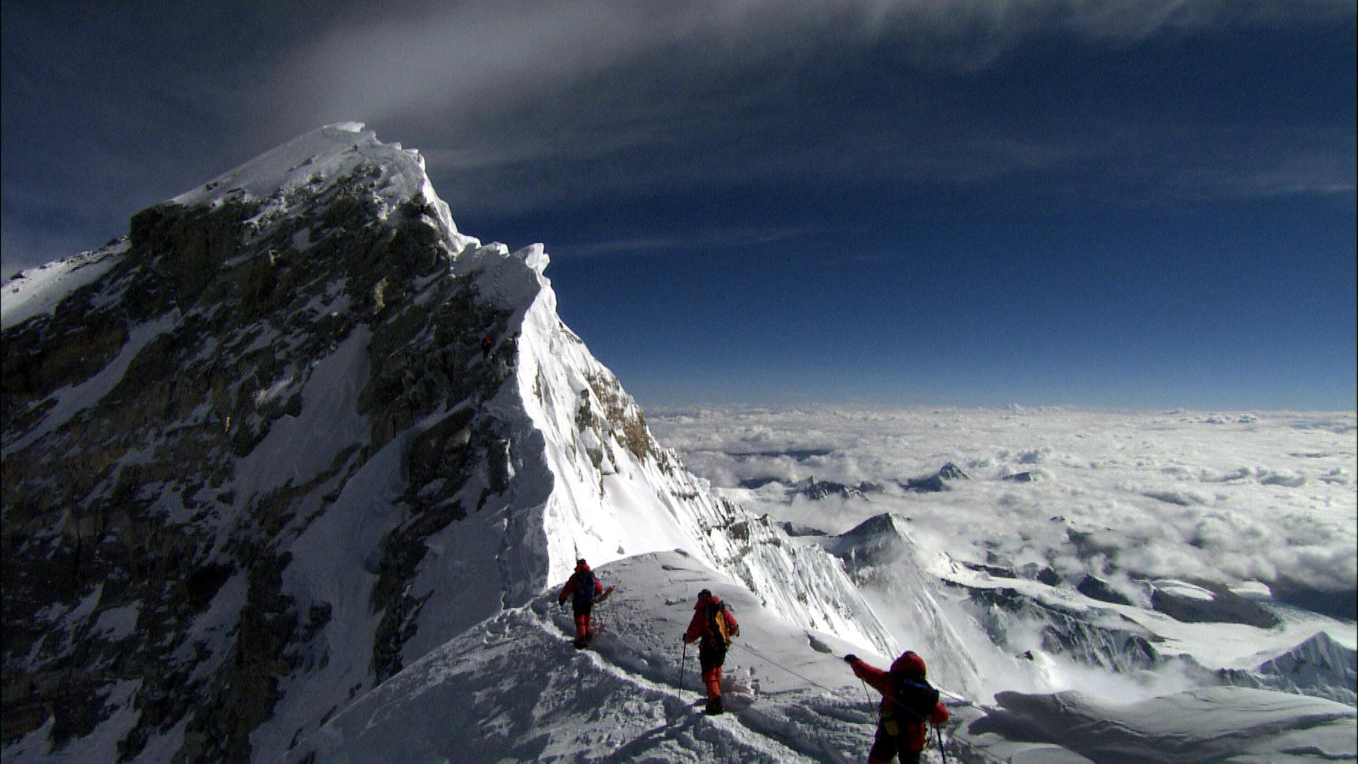 The summit ridge of Mt Everest