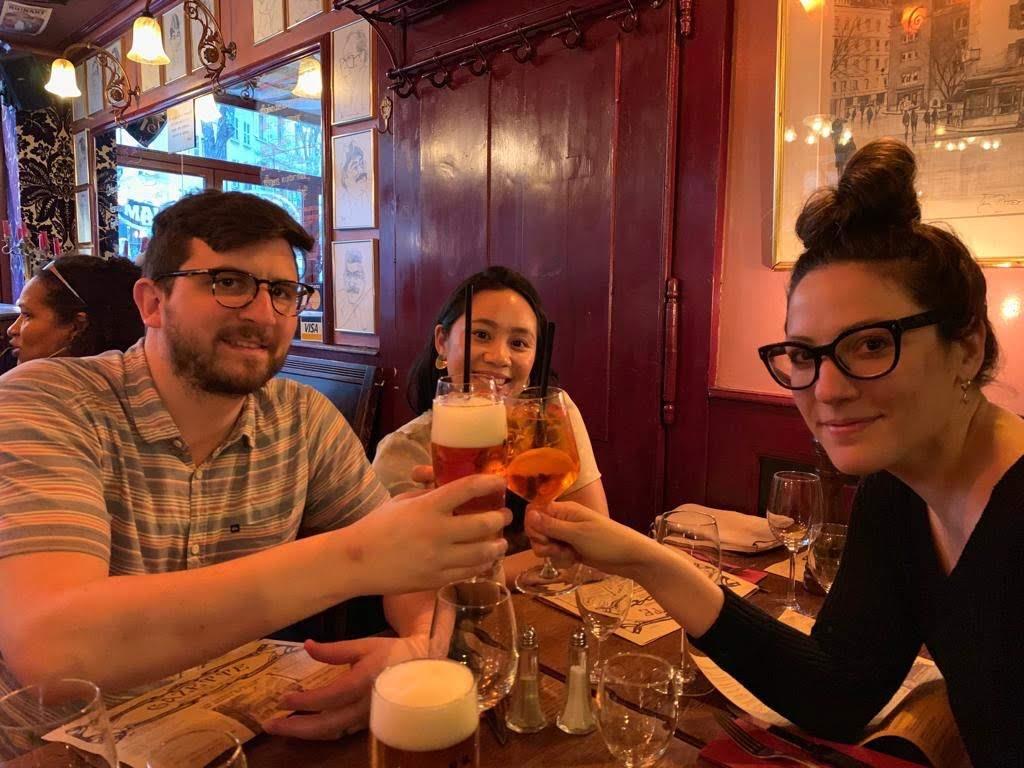 Cody, Caitlin and I at Café du Bourg-De-Four