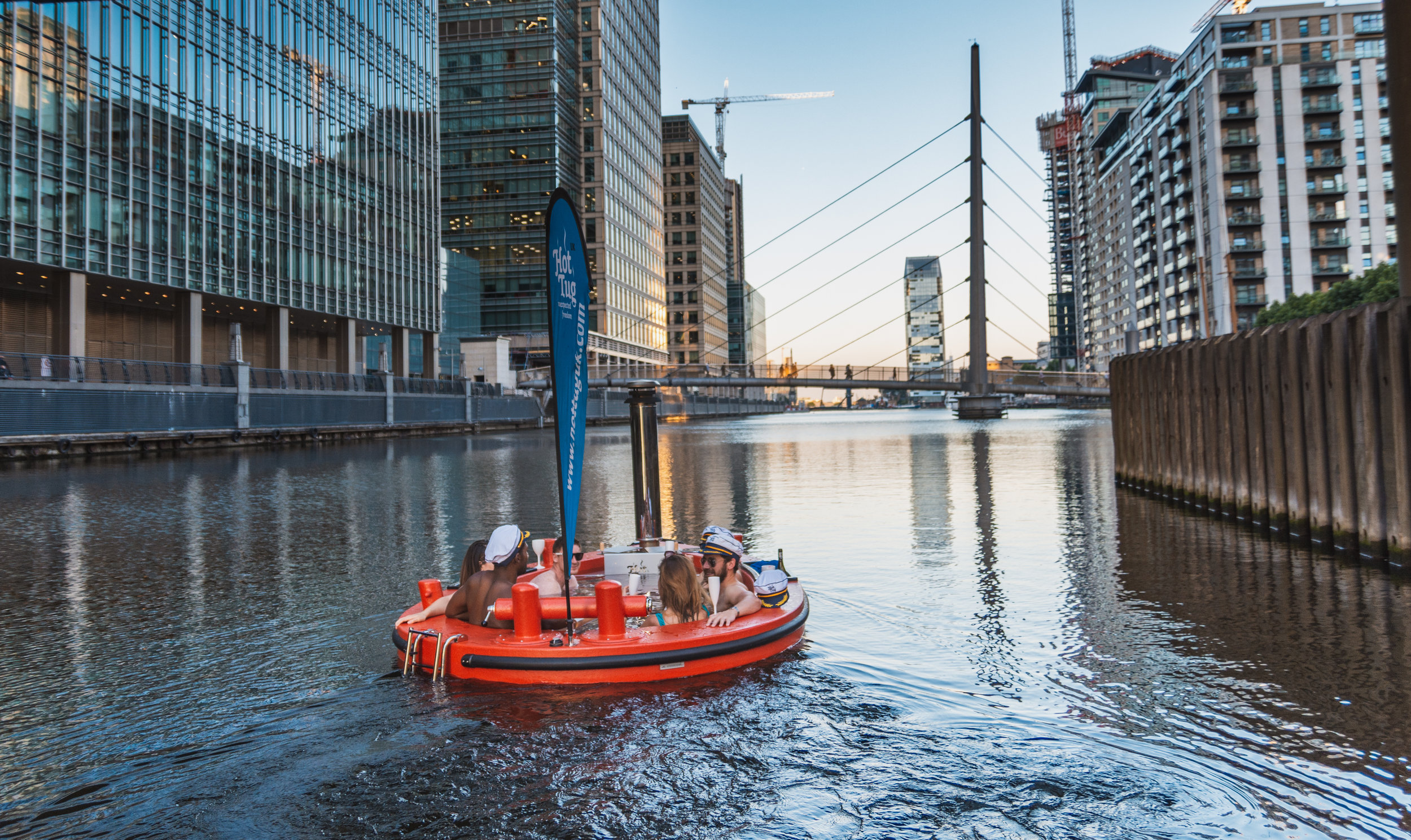 West India Quay/ Canary Wharf - Sailing between some of Europe's tallest buildings is quite the spectacle. An ideal base for groups. We also allow music at this location.