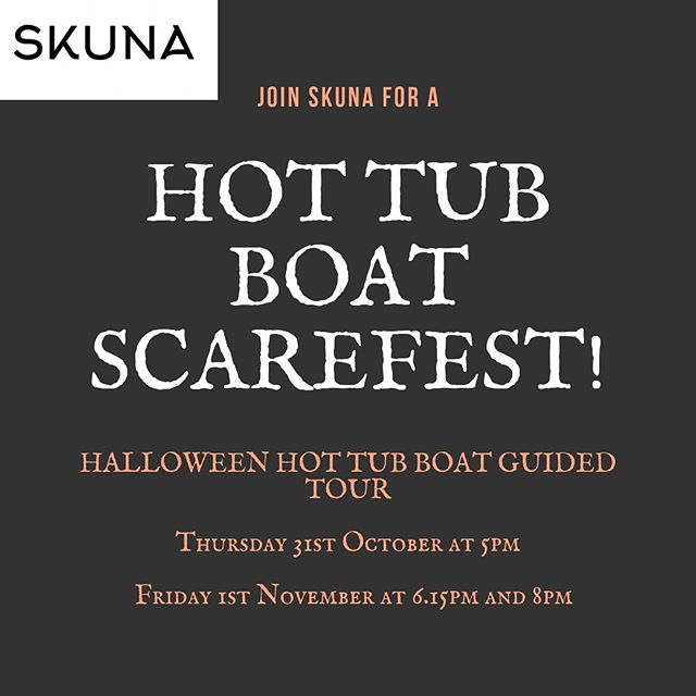 Have you booked your Halloween tickets yet? 👻  You're not going to want to miss out! Get your tickets here https://www.designmynight.com/london/whats-on/something-a-little-different-events/halloween-tour-in-a-hot-tub-boat ∙ ∙ ∙ ∙ ∙ ∙ #halloween👻 #skunaboats #halloween2019🎃 #fridayfeeling #halloweencomingsoon #halloweenaddict #halloweenatmosphere #london #thingstodolondon #timeoutlondon #hottubboat #hottub #hottubparty #scary #spooky #canarywharf #ghoststories