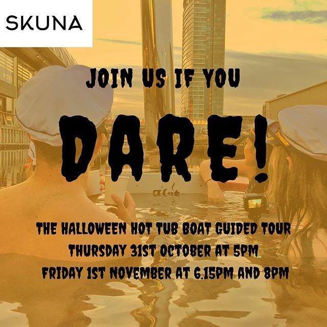 Are you booked in for the Halloween themed Hot Tub Boat Guided Tour yet?🎃  If not, you can book here!https://www.designmynight.com/london/whats-on/something-a-little-different-events/halloween-tour-in-a-hot-tub-boat?t=tickets ∙ ∙ ∙ ∙ ∙ ∙ #halloween👻#skunaboats#halloween2019🎃#halloweencomingsoon#halloweenaddict#halloweenatmosphere#london#thingstodolondon #timeoutlondon#hottubboat#hottub#hottubparty#scary#spooky#canarywharf#ghoststories