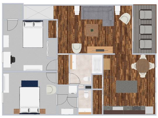 Two-bedroom apartment in Ithaca, NY. Floor plans for a two bedroom apartment 1115 sft.