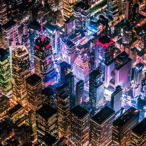 Midtown Manhahttan lit at night
