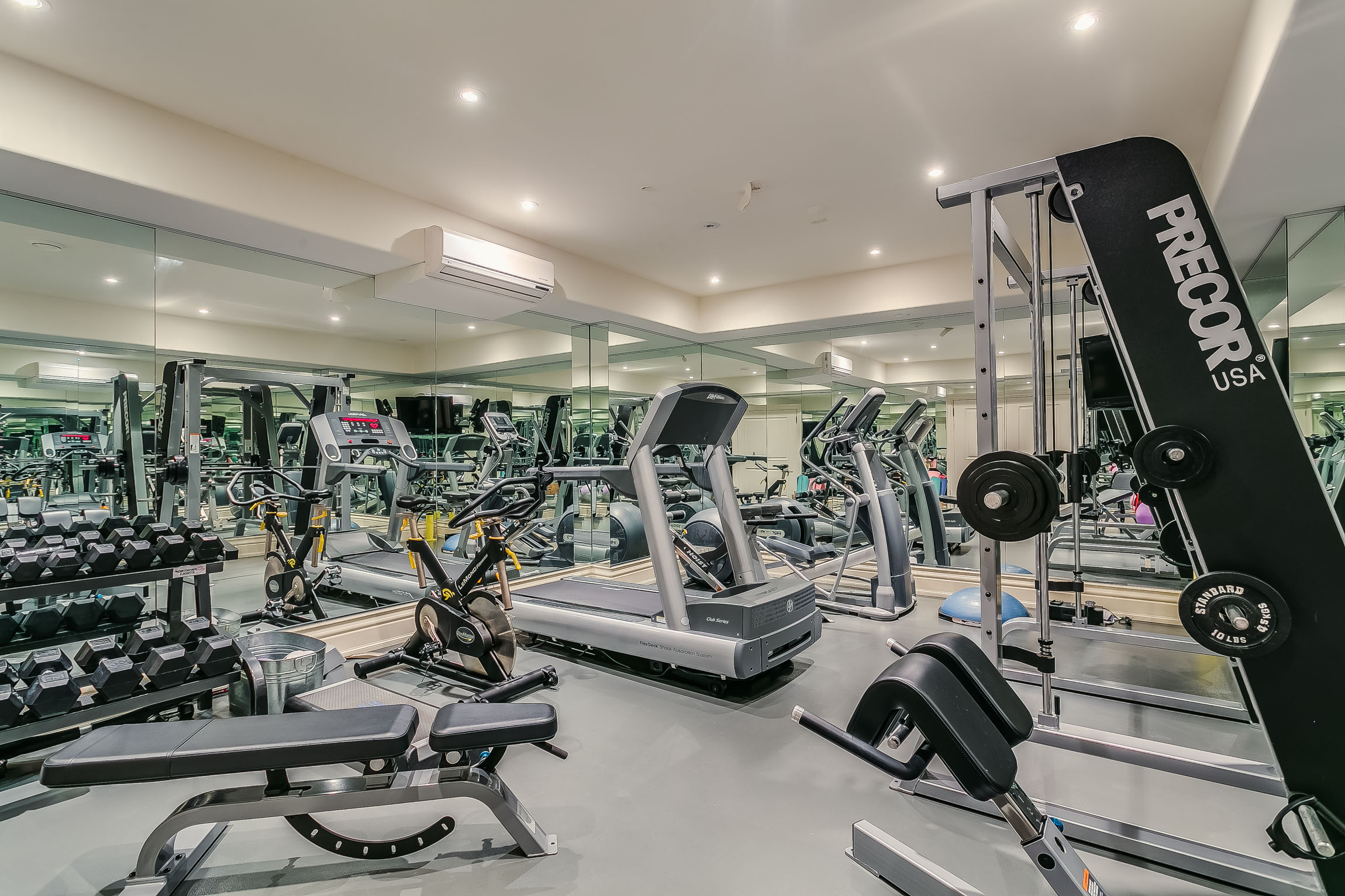 the gym - Nothing Speaks To The Flawless Home, Like a Wine Cellar Outfitted For Any Wine Enthusiast. Finally, The Ample Sized Gym Featuring Wall To Wall Mirroring, Completes The Lower Level.