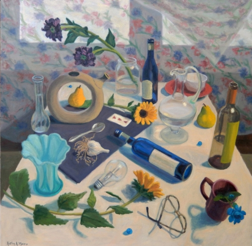 NORTH LIGHT WINDOW ON STILL LIFE   36in. x 36in. oil on canvas