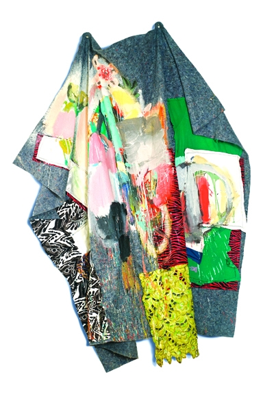 BLANKET 1   Blanket, Fabric, Paint; approx. 80 x 48 x 4 inches; 2015