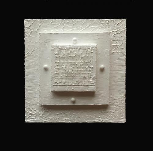 """CENTERED   Thread, Wood, Acrylic, on Canvas 10"""" x 10"""" X 3"""" 2015"""