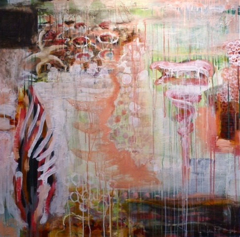 "BOTANY/BIOLOGY   fresco secco on canvas, 36""x 36"", 2015"