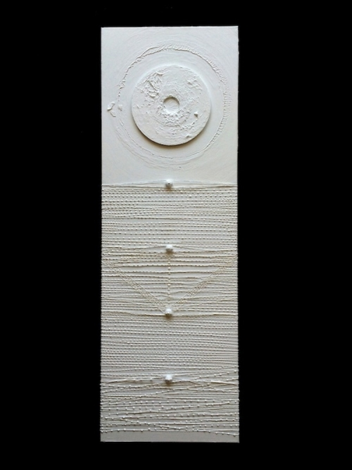 """PRISM   Monofilament, Wood, 45 record, Acrylic on Canvas 12"""" x 36"""" 2015"""