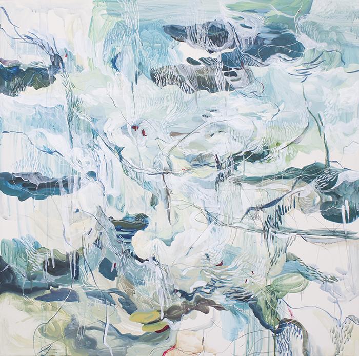 "BLUE FOSSIL   acrylic gouache, mixed media on clayboard, 36"" x 35"""