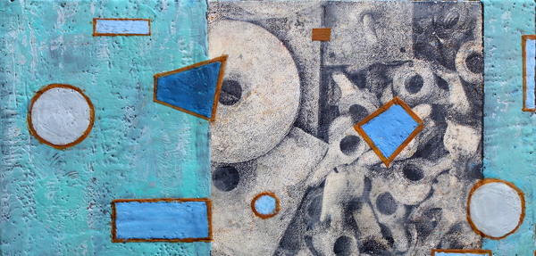 "OUT OF THE PAST   Encaustic with screenprint on wood panel, 12"" x 24"" 2017"