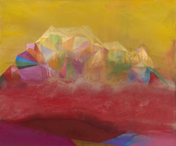"HELIOS   Oil, plaster & sand on canvas, 60"" x 72"" 2018"
