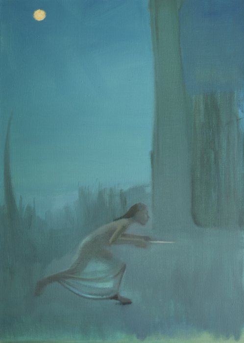"LIGHT THIEF / RUNNER   Oil on linen, 28"" x 20"" 2018"