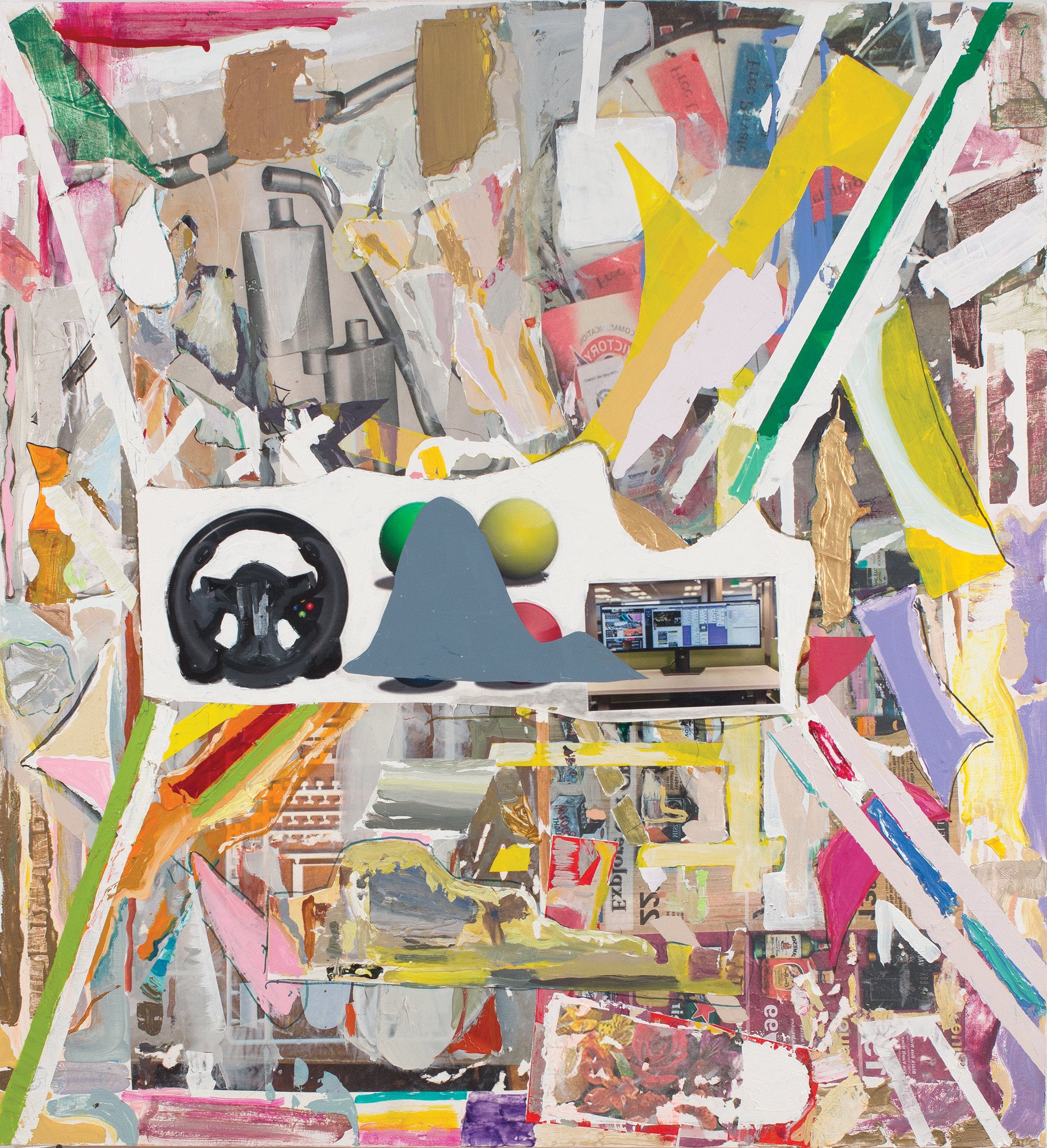 """Thomas Berding,  Screen Touch Kingdom, 2019, oil, acrylic, flashe, collage, and inkjet on canvas, 48"""" x 44"""".jpg"""