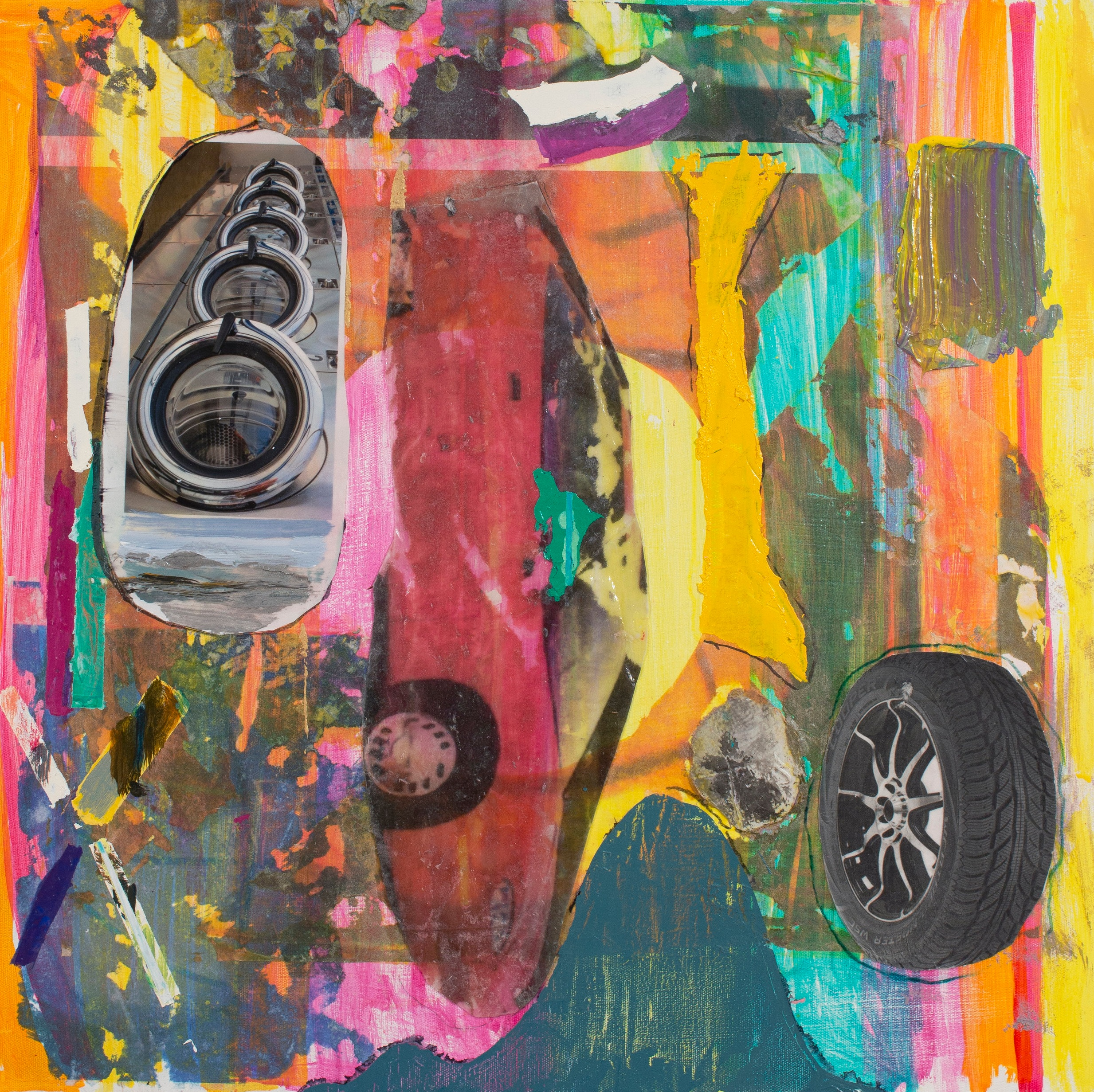 "Thomas Berding, Sunset Sedan, 2019, oil, acrylic, flashe, collage, and inkjet on canvas, 24"" x 24"".jpg"