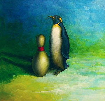 "PENGUIN WITH BOWLING PIN   Oil on canvas, 48"" x 48"" 2018"