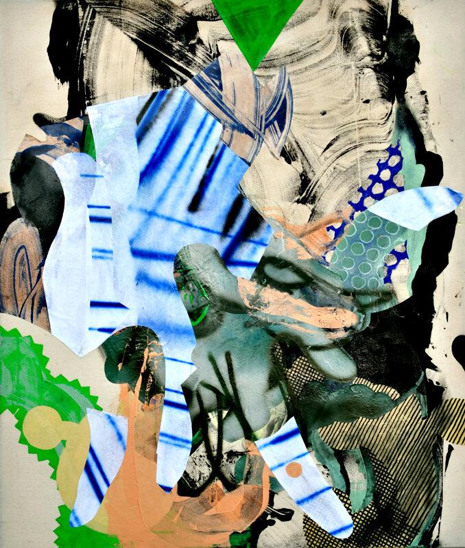 REACH (HANDLANGER)   Mixed media on raw canvas, 120 x 110 cm, 2018