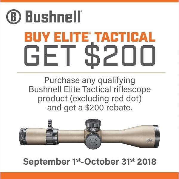 Great time for a new scope for your hunting or tactical rifle #bushnell #newscope #rebate #elitetactical #getoutandshoot