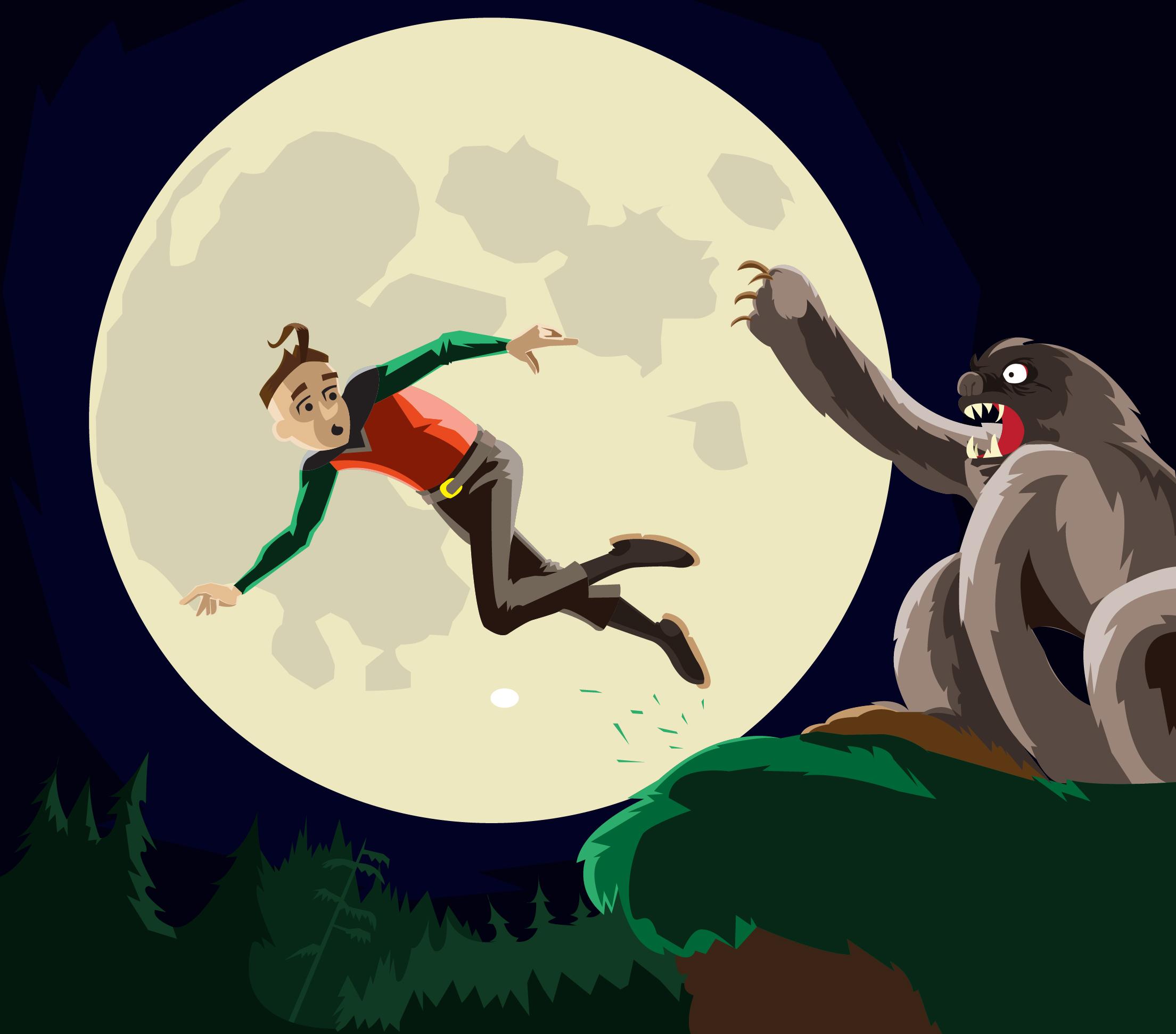 Rex Victor fleeing the Werebeast