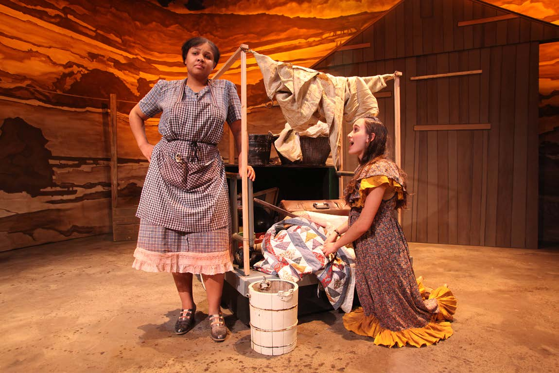 Heather Niccollette Lewter and Anya Opshinsky in The Grapes of Wrath adaptation by Frank Galati from the novel by John Steinbeck, directed by Rob McIntosh. A joint production of Youth Onstage! and City Lights Youth Theatre at the Castillo Theatre, March 2010. (Photo by Ronald L. Glassman)