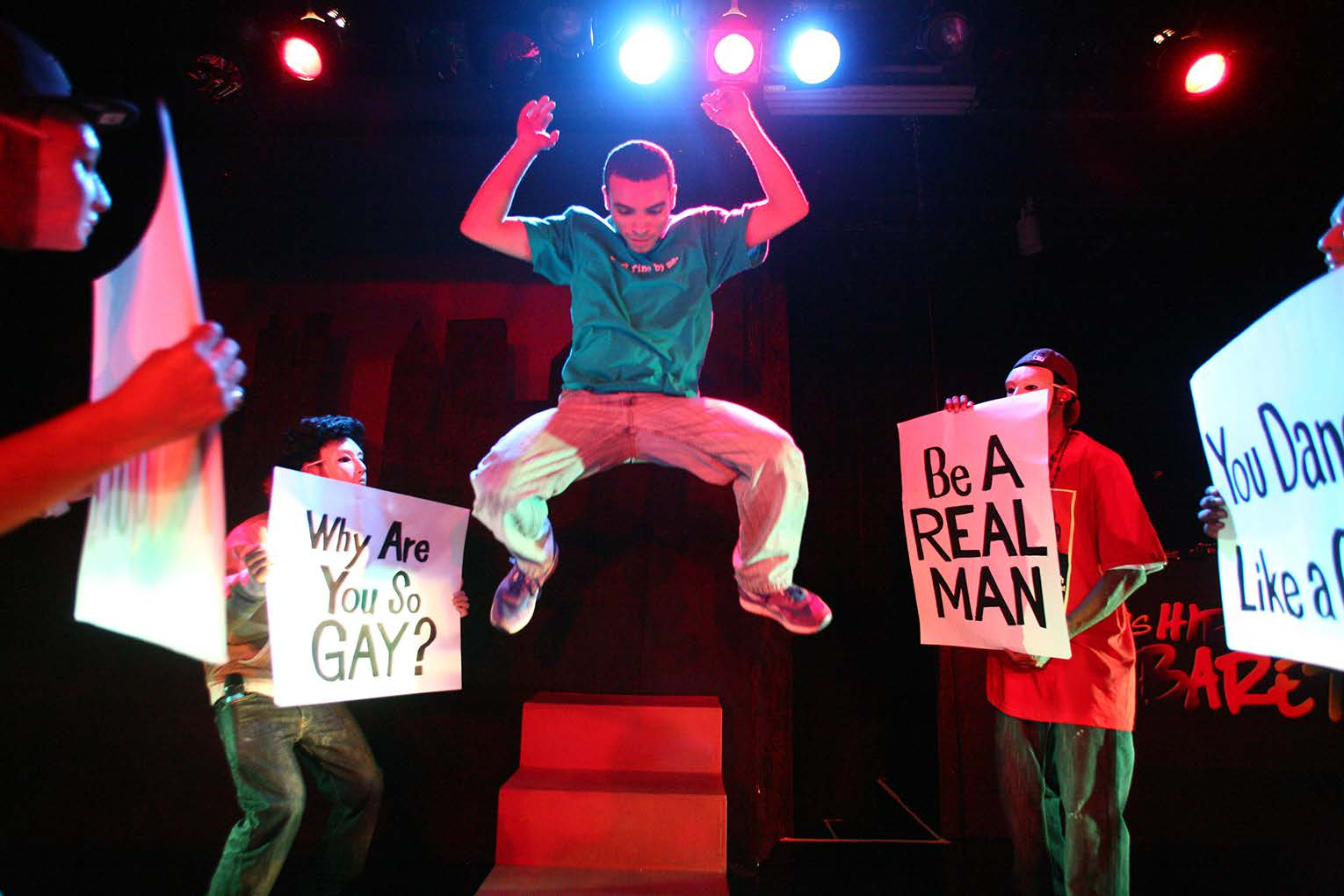 (Facing page) Jesse Vega (center) with ensemble in the All Stars Hip-Hop Cabaret #7, a devised production directed by Dan Friedman and Antoine Joyce at the Castillo Theatre, August 2009. (Photo by Ronald L. Glassman)