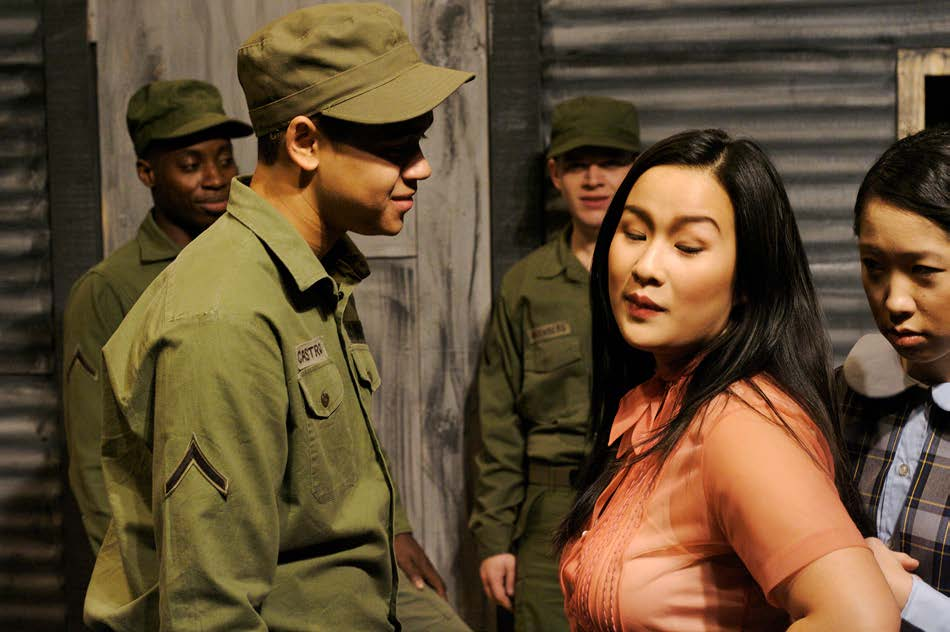 Reynaldo Piniella and Christine Komei Luo in Coming of Age in Korea, book and lyrics by Fred Newman, music by Anne Roboff, directed by Gabrielle L. Kurlander and Desmond Richardson at the Castillo Theatre, January 2009. (Photo by Diane Stiles)