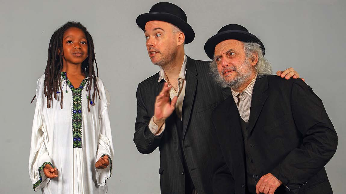 (From left) Nicholas Jenkins, Shane Baker, and David Mandelbaum in the first-ever Yiddish language production of Waiting for Godot by Samuel Beckett, translated by Shane Baker and directed by Moshe Yassur. A coproduction of the New Yiddish Rep and Castillo Theatre, September 2013. (Photo by Ronald L. Glassman)