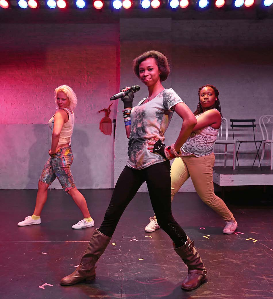 (From left) Homa Hynes, Starshima Trent, Jessica Cooper in Hip-Hop Explosion Workshop, a hip-hop production featuring the text of  Explosion of a Memory/Description of a Picture  by Heiner Müller. Directed by Madelyn Chapman and Antoine Joyce at the Castillo Theatre, August 2013. (Photo by Ronald L. Glassman)