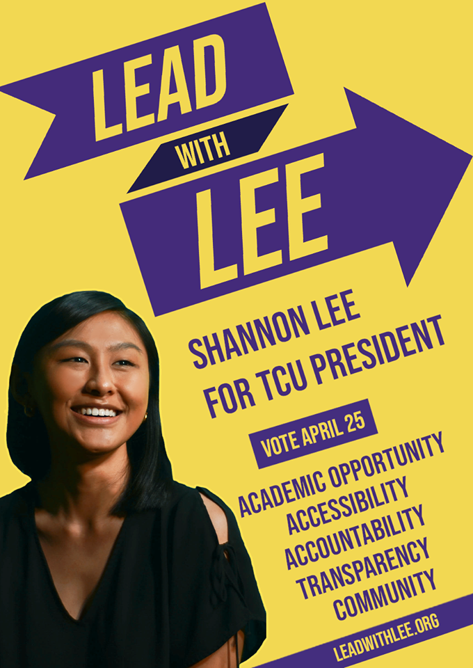- Platform: Hi! I'm Shannon Lee and I'm running to be your next TCU President. Because of my past work on Senate, I am equipped with the tools to implement innovative solutions and effectively support student initiatives on campus. My passion for supporting the Tufts community has driven me to work on projects like the Swipe it Forward meal bank, expanding the Group of 7 Centers, and advocating for the dining workers' union. I am committed to working in collaboration with students and enhancing the undergraduate experience so that together, we may forge a brighter future for Tufts.