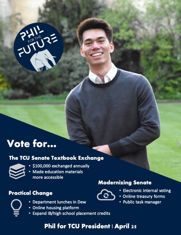 - Platform: The world is evolving-- and so should Tufts. With smart use of technology, we can make the Senate more responsive, more efficient, and more transparent. We need to build community on campus and improve educational opportunities. Like the textbook exchange, let's make practical changes and focus on what's important: improving Tufts student life for the future. Vote Phil for the Future on April 25th!