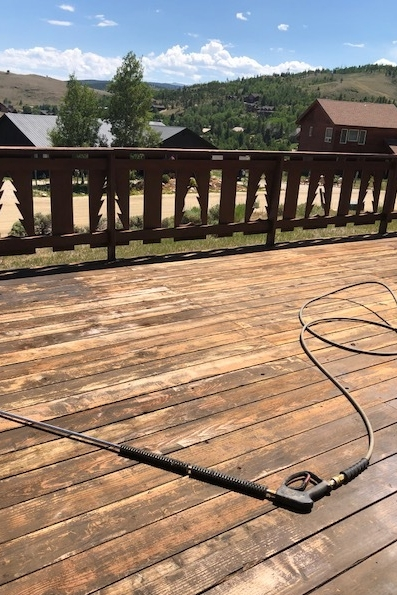 Power washing the deck for new stain