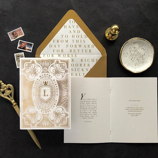 """Make connections ~ use your gift to dig deep and unearth things within people to help tell their story."" Thank you @joimariewrites, Anton, and @favoredbyyodit for trusting me and giving me the freedom to experiment with this design. The intricate cover design was inspired by the architectural details from their amazing venue. We played with gold foil stamping over vellum and pearl stock papers, clean editorial-style layouts with drop caps, pull quotes, and even vows in the envelopes. Everything was done intentionally to help tell their story. Happy wedding day to you both 🖤🖤🖤 #LewisInLove #madedivine #weddinginvitations #blackweddings"