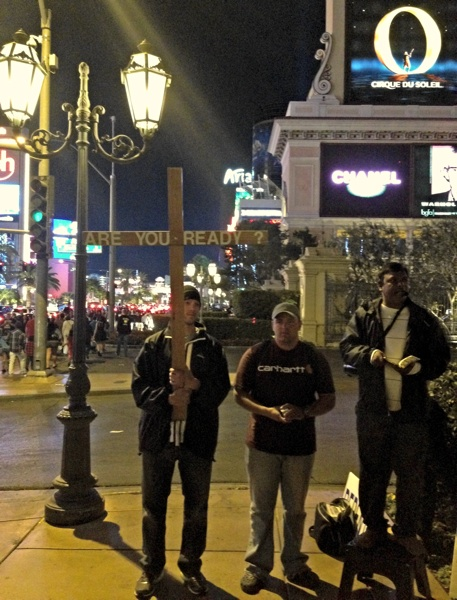 James preaches on the Las Vegas Strip.