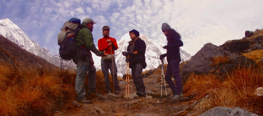 Ricky & Christian bare witness to two Israeli backpackers on a trail high up in Nepal's Annapurna Himalaya.