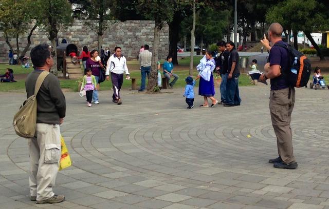 Spanish Preaching in a Plaza in Quito, Ecuador